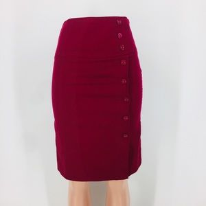 Anthropologie Elevenses Wine Pencil Pin Up Skirt